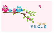 Lovely Happy Family Owl Wall Sticker Owl Singing on Tree Branch Nursery Wall Decal