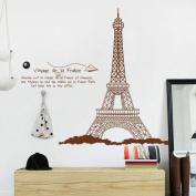 Trendbox PVC Removeable Decorative Art DIY Wall Decor Decal Sticker Paper For Home Bedroon Living Nursery Room Party - Brown Eiffel Tower