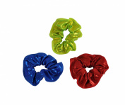 Obersee Kids Hair Tie Scrunchies, Red/Blue/Lime, One Size