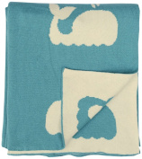 DARZZI Whale Knitted Baby Blanket, Turquoise/Natural, 90cm x 110cm