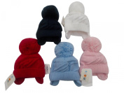 BNWT baby warm winter knitted bobble hat in blue red white navy pink 0-3 3-6 m