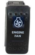 """SUNDELY® """"ENGINE FAN"""" 12V 24V ON/OFF Rocker Switch with Blue LED Backlit Carling ARB Narva Style"""
