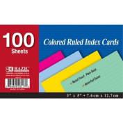 3 Pk, BAZIC Coloured Ruled Index Cards, 7.6cm X 13cm - 100 Sheet Ct Each