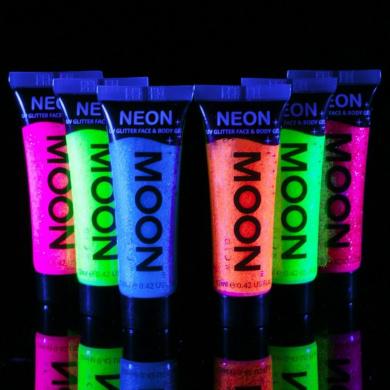 Moon Glow - Neon UV Glitter Face & Body Gel - 12ml Set of 6 - Glows brightly under UV