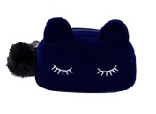 YarBar Women's Large Capacity Cute Cat Plush Cosmetic Bag Blue