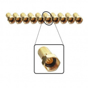10 x F-Connector 7 MM Gold-Plated with Seal Wide Nut for Satellite Antenna Coaxial Cable Digital Hb-Bk systems