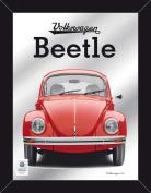 Empire Merchandising 671813 Volkswagen Beetle Red Printed Mirror with Wood-Effect Plastic Frame 30 x 40 CM