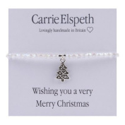 Carrie Elspeth Wishing You A Very Merry Christmas Sentiment Stretch Bracelet