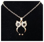 Black Owl Necklace with Gold Shade Chain