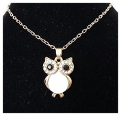 White Owl Necklace with Gold Shade Chain