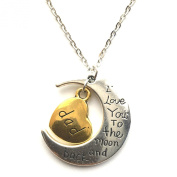 I Love You To The Moon And Back Gold Silver Choker Chain Family Necklace Pendant Heart Gift For Her Him