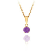 9ct yellow gold 5mm round amethyst pendant / Gift box