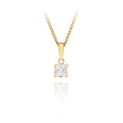 9ct yellow gold 5mm square white cz pendant / Gift box