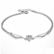 ONEWORLD Women Platinum Plated Anklet Heart Shaped Rhinestone Inlay Pendant Foot Leg Chain Length Adjustable Anti-Allergy/Anti-Colour Fading