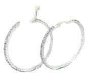 5.5cm CLIP ON Diamante CRYSTAL Rhinestone BIG Silver HOOP EARRINGS CZ Cushion