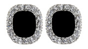 CLIP ON EARRINGS - SILVER PLATED WITH BLACK STONE & CRYSTALS STUD - Helen by Bello London