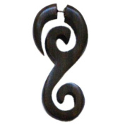 Chic-Net Tribal Spirals Fake S-shape Sono wood brown stainless steel strap Piercing Earring 1 mm