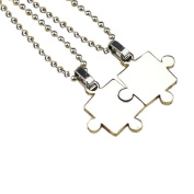 Koly Men Women Couple Stainless Steel Puzzle Pendant Necklace Novelty Jewellery