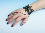 Baroque Steampunk Bracelet & Ring - Lady of the Camellias - Costume Accessory Black/Gold