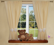 Nursery Curtains For Baby Room with Decorative Bows 160cm x 160cm - PLAIN CREAM