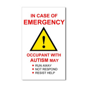 CafePress Autism Emergency Warning Sticker for Home Sticker Rectangle - 3x5