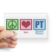 CafePress Peace Love PT Sticker Rectangle - 3x5 Clear