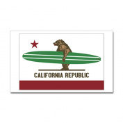 CafePress - California Surfing Bear Longboard Flag Sticker - Rectangle Bumper Sticker Car Decal