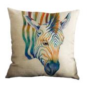 Amybria Cotton Linen Home Decor Throw Sofa Car Cushion Cover Pillow Case Zebra