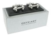 Gym Exercise Dumbbell Design Cufflinks In Onyx Art Box