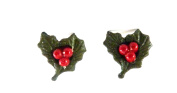 CUTE CLIP ON FIXING CHRISTMAS HOLLY EARRINGS