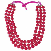 Fuchsia Red Multi Layered Beaded Bib Necklace Costume Fashion Jewellery Indian