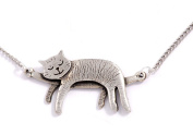 St Justin, Pewter Sleeping Cat Necklace - 46cm