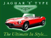 FRENCH VINTAGE METAL SIGN 20x15cm E TYPE JAGUAR ENGLISH CAR