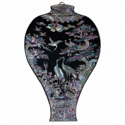 Mother of Pearl Lacquer Wood Black Prunus Vase Bird Pine Tree Design Wall Hanging Art Decor Plaque