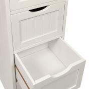 Woodluv 4 Drawer Floor Standing Bathroom Storage Cabinet Storage Unit - White