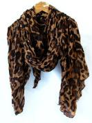 Celebrity Coffee Brown Animal Leopard Print Shawl Scarf Shawls Scarves