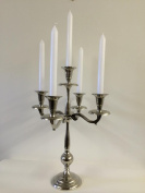 Beautiful Shiny Nickel Plated Table Candelabra 5 - Arms 44cm Candle Stick Holder R1