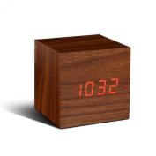 Cube Walnut Click Clock