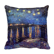 Private Custom Pillow Case Personalised Canvas Pillow Covers Starry Night Over the Rhone by Van Gogh Throw Pillow 18*46cm