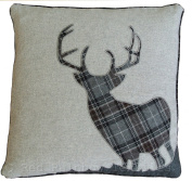 Tartan Stag 46cm Black & Grey Cushion Cover Soft Woven Tweed Wool Fabric
