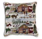 "Christmas Tapestry Style Festive Xmas Cushion Cover, 43 x 43cm (17"" x 17""), Snow Scene"