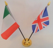 Italy Italian Union Jack 2 Flag Friendship Table Display With Gold Base