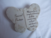 """""""Special Partner"""" Butterfly Shaped Memorial Plaque"""
