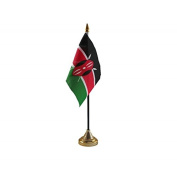 Pack Of 12 Kenya Kenyan Desktop Table Centrepiece Flag Flags With Gold Bases Ideal For Party Conferences Office Display