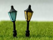 SecretRain Miniature Resin Garden Fairy Ornament Retro Streetlight Set