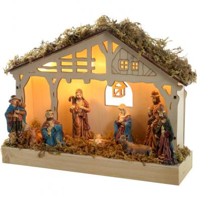 WeRChristmas 26 cm Pre-Lit Christmas Wooden Nativity Scene Decoration Illuminated with 5 Warm White LED