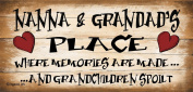 Shabby Chic Birthday Occasion Wooden Funny Sign Wall Plaque Nanna And Grandads Place Where Memories are Made And Grandchildren Spoilt Nanna & Grandad