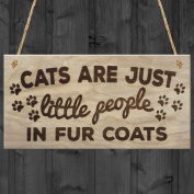 Red Ocean Cats Are Just Little People In Fur Coats Plaque Wooden Hanging Sign Cat Lover Kitty Lovers Paw Print Gift