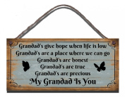 Funny Sign Birthday Occasion Shabby Chic Wooden Wall Plaque Grandad's Give Hope When Life Is Low Gift Present