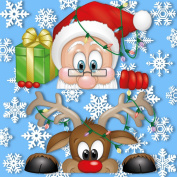 Peeking Santa and Rudolph Window Clings - With 28 Snowflakes - Fabulous Christmas Decorations